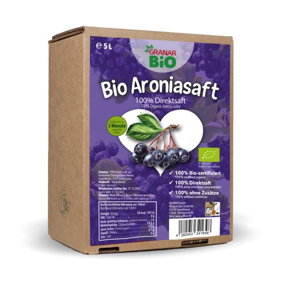 5 Liter Bio Aronia Direktsaft in der Saftbox von GranarBIO