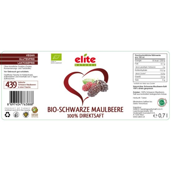 700ml Bio Maulbeere Direktsaft von Elite Naturel