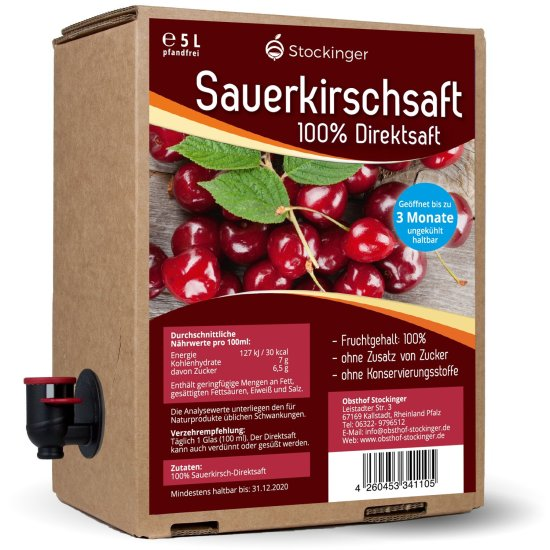5 Liter-Box Sauerkirsche Direktsaft von Obsthof Stockinger